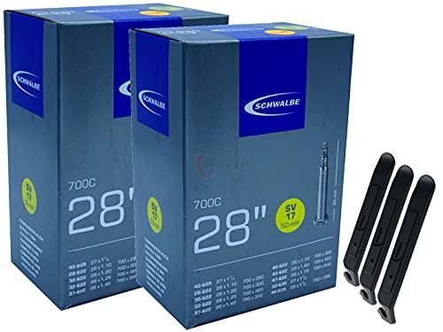 pneugo! Schwalbe Sclaverand 28-622/47-622 SV17 - Juego de 2 cámaras de aire para bicicleta (28', incluye 3 desmontadores de neumáticos)