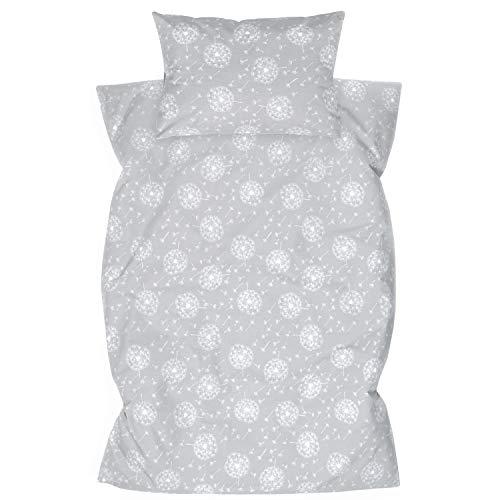 Amilian Ropa de cama infantil de 2 piezas, 100% algodón, ropa de cama para bebé, funda nórdica de 100 x 135 cm, funda de almohada de 40 x 60 cm, con cierre de hotel, diente de león, gris