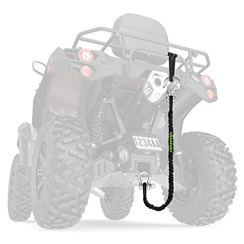 Mud Bandit ATV Recovery Strap with Winch Hook and D Ring Shackle, Tow Rope for Four Wheeler, Quad, UTV, Side by Side, 9000lb Synthetic Rope with Loops, Premium Mudding Accessories