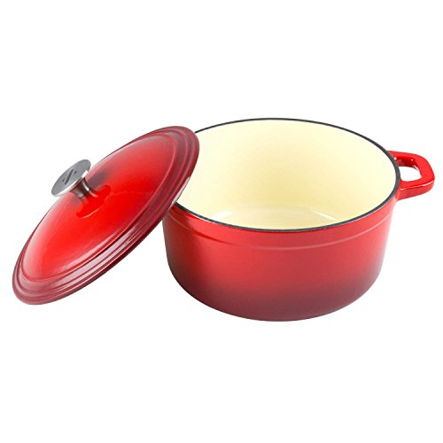 Zelancio Cookware 6-Quart Enameled Cast Iron Dutch Oven Cooking Dish with Self-Basting Lid, Red