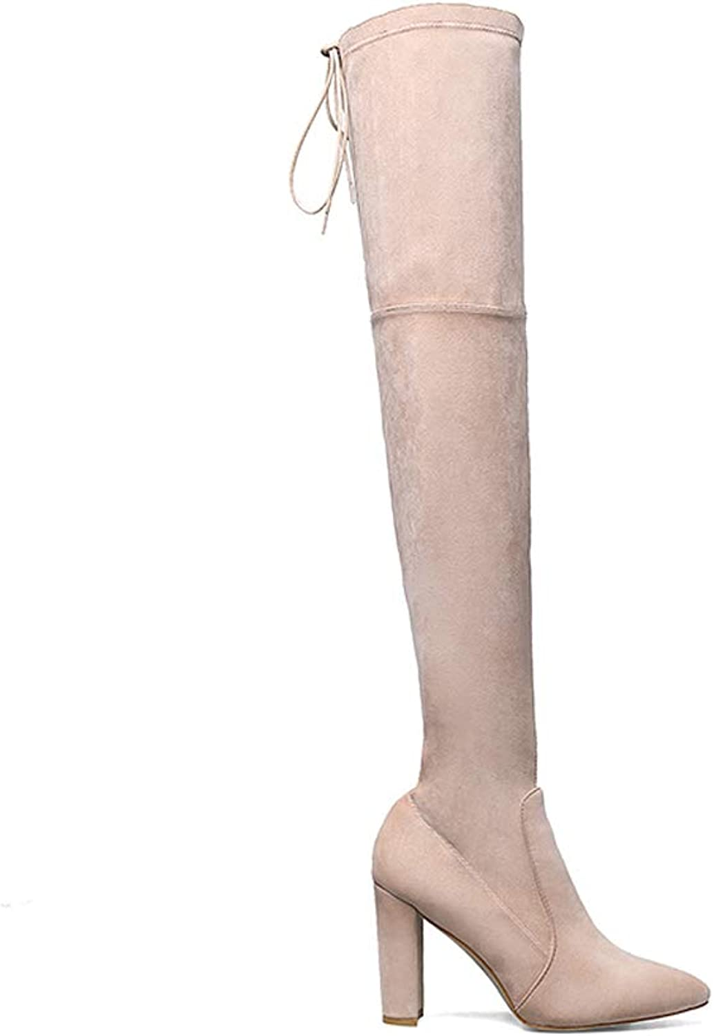 Perixir Women's Over Knee High Boots Suede Pointed Toe High Heels