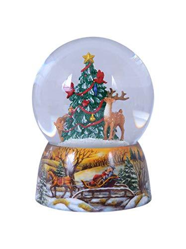 Spieluhrenwelt MMM GmbH, 858064 Spieluhr Schneekugel Tiere schmücken den Weihnachtsbaum