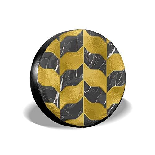 MOLLUDY Reserveradabdeckung Nahtloses Marmor-Luxusmuster mit Goldener Folie Reifenabdeckung Radabdeckung 14/15/16/17 inch