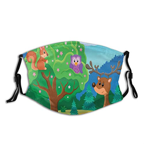 Comfortable Activated Carbon mask,Wildlife Theme With Funny Animals In A Tree Footpath Reindeer And Hedgehog Friends,Printed Facial decorations for adult