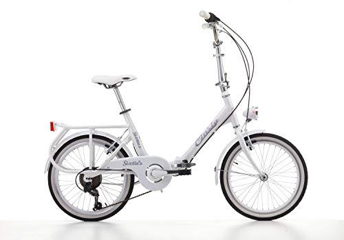 """Cicli Cinzia Bicicletta 20"""" Citybike Pieghevole Sixtie's 6/V Revo Shift V-Brake Alluminio, Bianco, Unisex – Adulto"""