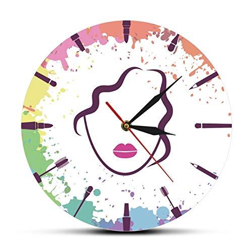 Cara de Hermosa Chica Maquillador Moda Reloj Colgante de Pared Elementos de Maquillaje con Cara de Mujer Reloj Salón de Belleza Arte de la Pared