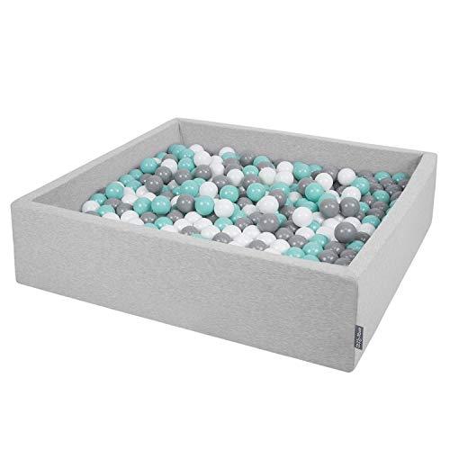 KiddyMoon Bällebad 120X30cm/200 Bälle Groß Quadrat Bällepool Mit Bunten Bällen Für Babys Kinder, Hellgrau:Weiß-Grau-Helltürkis