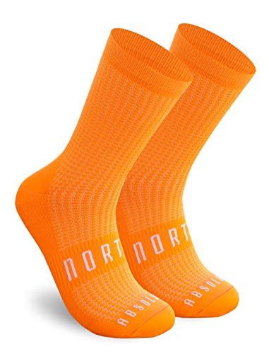 NORTEI Calcetines Naranjas para Ciclismo, MTB y Running de Caña Alta para Hombre y Mujer – Absolute Orange