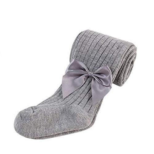 Medias de invierno cálidas para niñas bebé de punto sin costuras de algodón 1 paquete de pantimedias para recién nacidos bebés, gris, L