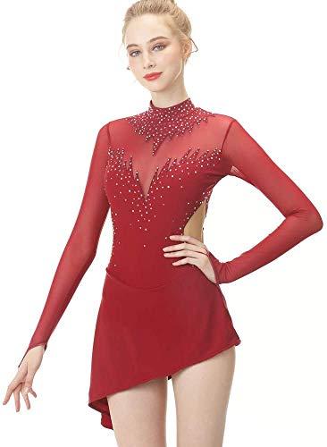 DIELIAN Kristall Eiskunstlauf-Kleid für Frauen Mädchen Mesh-Patchwork Eislaufen Kleid Rückenfrei Lange Ärmel,Rot,140cm