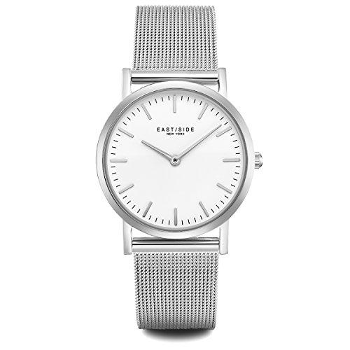 Eastside Damen Uhr analog Japanisches Quarzwerk mit Edelstahl Armband Silber 3 ATM 10080010