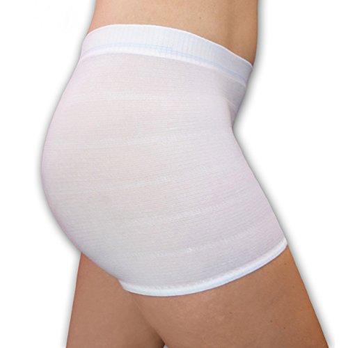 ButzeleService.de 4er Set Wochenbett Panties mit Bein-Ansatz, Seamless Damen Pagen Krankenhaus Slips für Einweg Wöchnerinnen Binden nach der Geburt, Unterwäsche Mehrpack (L)
