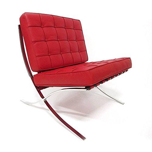 Sedia Furnwise Barcelona - Pelle Premium ispirata a Mies van der Rohe (rosso, pelle)