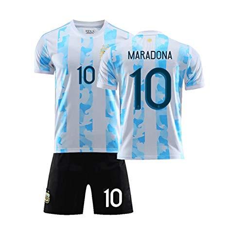 CMYA Retro 1986 Argentinien Fußballuniform, Diego Maradona 10, Fußballtrikot-Kits für Erwachsene Memorial Collection von Fußballtrikots T-Shirt,Without Socks,XXL