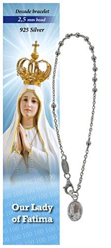 Pulsera Virgen de Fátima de plata con cuentas de 4 mm - en inglés