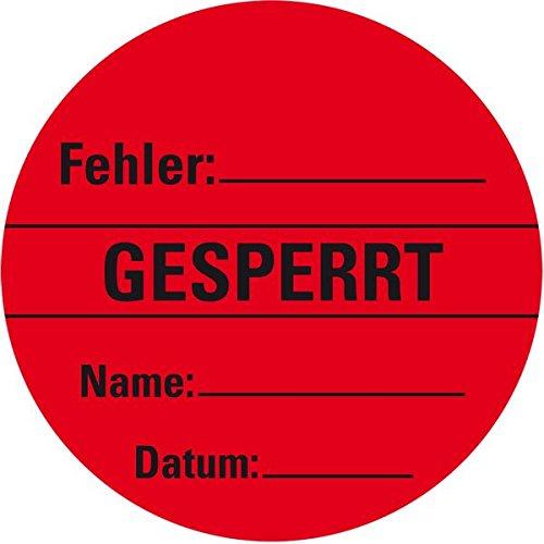 LEMAX® Organisationsetikett Gesperrt, rot, Haftpapier, ablösbar, Ø 60mm, 500/Rolle