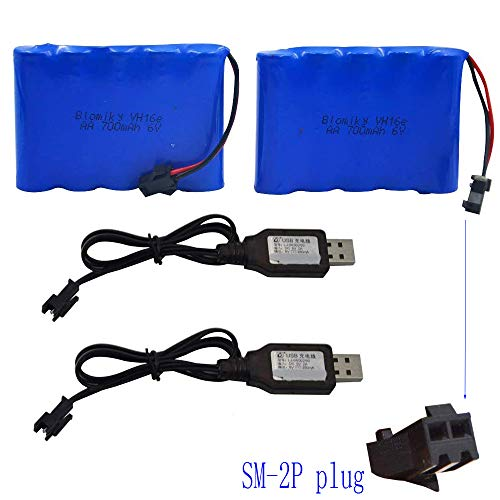 Blomiky 2 Pack 6.0V 700mAh Ni-CD AA Rechargeable Battery Pack SM2P Plug and 2 USB Charger Cable Fit for 11 Channel RC Excavator RC Truck Amphibious Stunt RC Cars Vehicles 6V 700mAH and USB 2