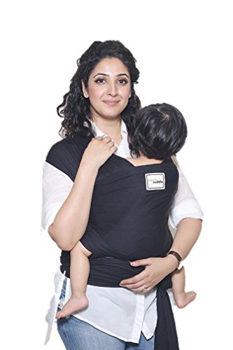 Mama Cuddle Super Soft Lightweight Baby Sling Stretchy Wrap Carrier - Black