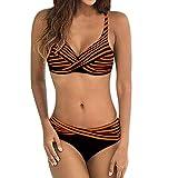 TUDUZ Mujer Bikini Cruzado A Rayas De Ankini De Dos Piezas Tankinis Ropa De Playa Traje De Baño (Naranja, L)