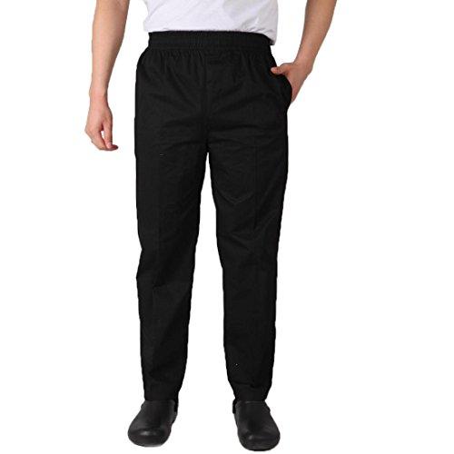 Levoberg Pantalon de Cuisine Taille Elastique Uniforme de Travail Restaurant Hôtel Noir XL