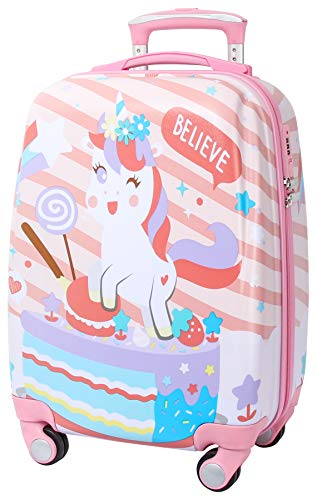 Baobab'sWish Children's Luggage Kids Suitcase with 4 Wheels Travelling for Boys Girls Hard Shell Carry on (Q-Unicorn, one-Size)