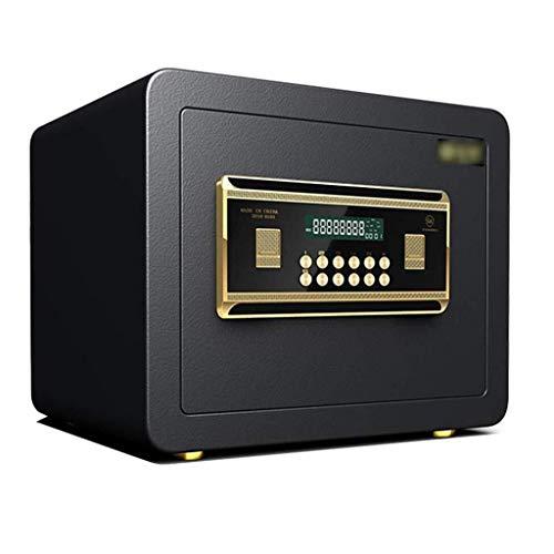 WangJUNXIU Klein waardevol, digitaal toetsenbord, led-indicatoren, 35 mm stalen vergrendelingsbouten, noodsturing sleutel, zwart oppervlak 25 cm kluis voor thuis - brandbeveiliging, kantoor veilig documententas Jazz zwart