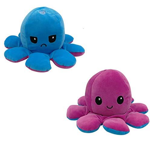 IMJONO Tintenfisch Plüschtiere, Doppelseitige Flip Tintenfisch Puppe, Weiche Reversible Tintenfisch Kuscheltierpuppe, Kreative Spielzeuggeschenke für Kinder, Familie, Freunde (103-H)