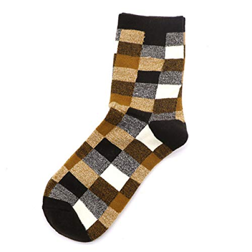 Générique Bedruckte Socken, Harajuku Neuheit Crew Cotton Classic Plaid Art Socks Colorato Funky Fancy Motion Casual Office Socken braun Unisex Damen