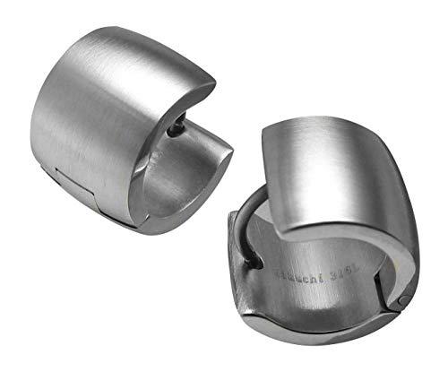 Kikuchi Herren Ohrringe Titan- Edelstahl Creolen 10mm Extra-Breit Silber Matt Flinserl ERTS015