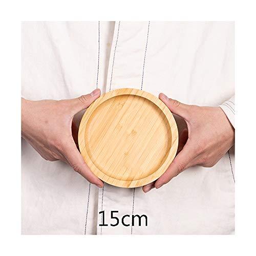 ZLSP Bambú creativo nórdica de estilo bandeja, Ronda Inicio filete pizza plato de fruta sólida placa de madera ZLSP (Size : 15cm)