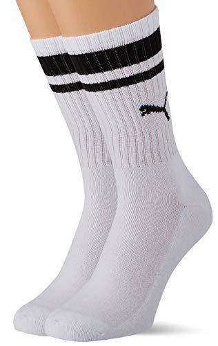 PUMA Crew Heritage Stripe Socks (2 Pack) Calcetines, White, 35/38 Unisex Adulto