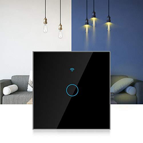 Pantalla táctil WiFi Interruptor inteligente Círculo único 1 vía AC 100-250V Aplicación impermeable y a prueba de golpes Admite 22 idiomas en todo el mundo Compatible con Alexa y Google Home(negro)