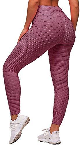 Memoryee Panal arrugado para nalgas de las mujeres leggings Levante los pantalones de yoga de cintura alta Elegante con gimnasio de control de la barriga (Pasta de frijol, S)