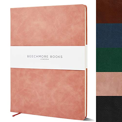 Ruled Notebook - British A4 Journal by Beechmore Books   XL 8.5' x 11.5' Hardcover Vegan Leather, Thick 120gsm Cream Lined Paper   Gift Box   Rose Wood
