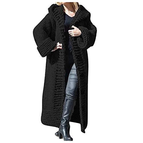 Manteau Tricoté Solide Et Chaud pour L Hiver 2020, Manteau Mi-Long Femme Hiver, Cardigan en Tricot Femme,Femmes Casual Bouton en Tricot Solide Plus La Taille Pull À Manches Longues Cardigan