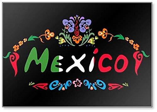 Imán para nevera con diseño floral con texto en México