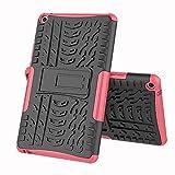ZHIWEI Tablet PC Tasche Tablet-Abdeckung für Huawei MediaPad T3 8.0-Zoll-Reifen-Textur Stoßfest TPU + PC-Schutzhülle mit Klappgriff Stehen (Color : Rose red)