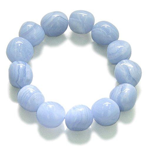 Amulet Healing Blue Lace Agate Tumbled Crystals Gemstone Bracelet