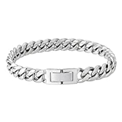 KEEP SHINY FOREVER: We use stainless steelas base material. Adopt Double Electronic PVD Plating for an everlasting shine, so it won't turn your skin green and assures no color fading for 3-5 years. It can ensure each cuban link bracelet reflects ple...