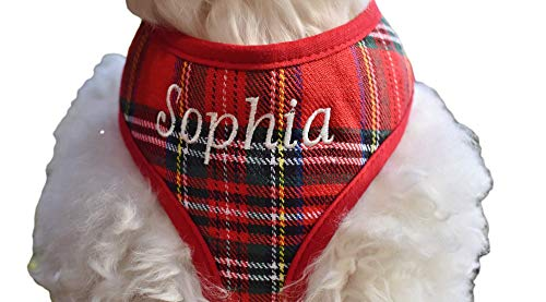 Handmade in USA Personalized Custom Red Stewart Plaid DOG Harness for Boys and Girls   Name Embroidery Option