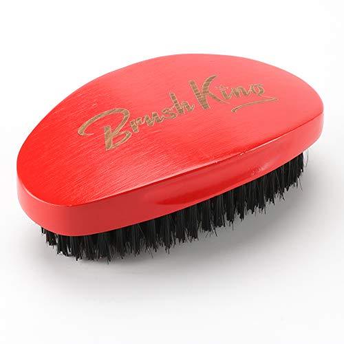 BrushKing Wave brush—Curved 360 Wave Brush----Medium Men's wave brush (Red)