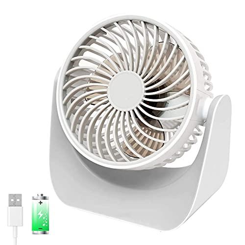 Portátil Mini USB Ventilador de Mesa, 3 Velocidades y 360° Ajustable Cabeza Ventilador de Enfriamiento con 2000mAh Batería Recargable, Potente Flujo de Aire, Adecuado para Casa,Oficina,Cuarto,Colegio