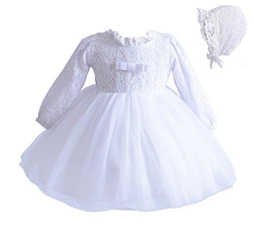 Cinda Baby-Lange Hülsen-Spitze-Tauf-Party-Kleid und Mütze 56-62 Weiß