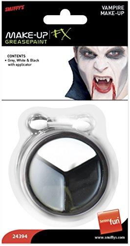 Smiffy's Smiffys-24394 Halloween Kit de maquillaje de vampiro, Colores gris y blanco, con aplicador, ninguna, No es applicable 24394