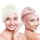O³ Toallas turbantes de microfibra // 2 unidades – Rosa + Blanco // Toallas...