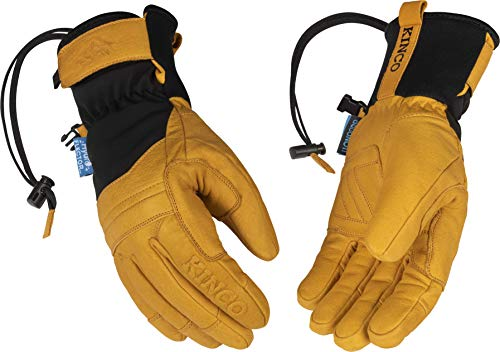 Kinco - Skyliner Hydroflector Lined Premium Buffalo Leather Ski Mitt, Superior Water Resistance, Heatkeep Thermal Insulation, Extended Easy-On Cuff, Glove Leash, (Style No. 9088HKP)