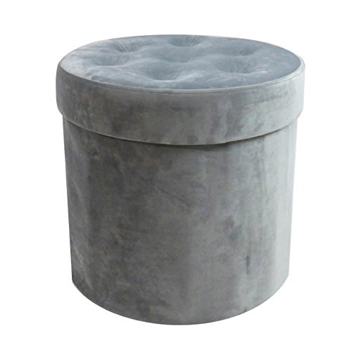 VELVET Pouf coffre de rangement pliable rond en velours Ø40x38 cm gris