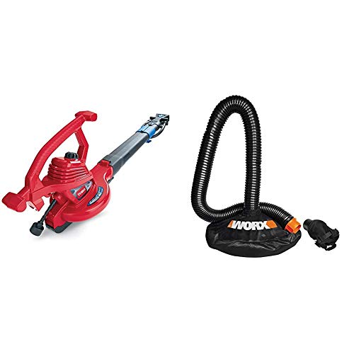 Toro 51621 UltraPlus Leaf Blower Vacuum, Variable-Speed (up to 250 mph) with Metal Impeller, 12 amp,Red & Worx WA4054.2 LeafPro Universal Leaf Collection System for All Major Blower/Vac Brands
