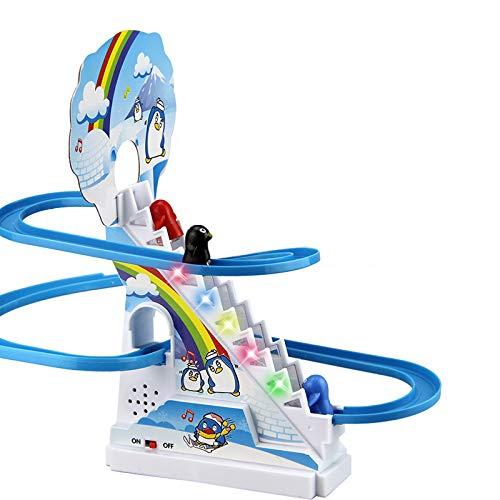 Rosepoem Puzzle Pinguino Scivolo Elettrico Railcar con Musica Arrampicata Scale Giocattoli In Plastica Durevole Regalo Genitore-Bambino Interazione