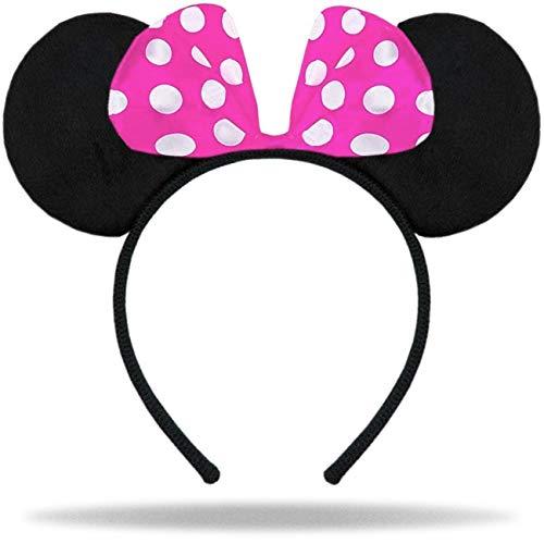 Hatstar Haarreifen mit Maus Ohren   Mouse Ears in schwarz mit Schleife in pink und weißen Punkten für Kinder und Erwachsene